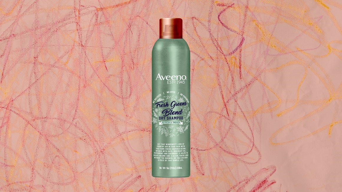 With Aveeno Fresh Greens Dry Shampoo, my hair looks happy